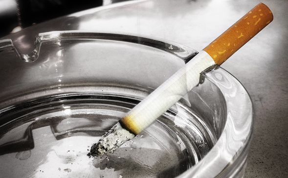 cigarette in ashtray....